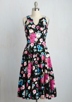 Flaunt a Piece of Me? Dress - Black, Pink, Floral, Print, Daytime Party, Pinup, Vintage Inspired, 50s, A-line, Sleeveless, Summer,…