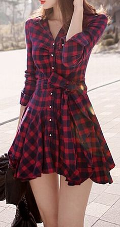 Cheap dress casual shirts, Buy Quality dress shirt sleeve length directly from China shirt dresses sale Suppliers: Vintage Red Plaid Dress 2015 Autumn Women Retro Long Sleeve Lapel Long Shirts Mini Belted Casual A-line Dress Vestidos De Festa Day Dresses, Cute Dresses, Dress Outfits, Casual Dresses, Cool Outfits, Casual Outfits, Fashion Dresses, Dress Up, Popular Outfits