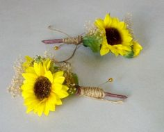 fall Sunflower Wedding Flowers Mens boutonnieres rustic woodland twine wrap Bridal party accessories Groom Groomsmen summer silk artificial by BudgetWeddingBouquet on Etsy