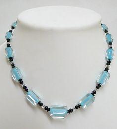 Vintage Art Deco necklace Light blue cane bead with black spacers. Rare.  $98.00