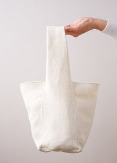 DIY: two-piece woven bag Diy Bags Patterns, Weaving Patterns, Knitting Patterns Free, Free Pattern, Free Knitting, Diy Bags No Sew, Diy Sac, Purl Soho, Linen Bag