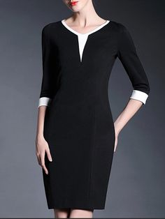 Paneled Color Block Knee Length Dress - GYALWANA $86.99