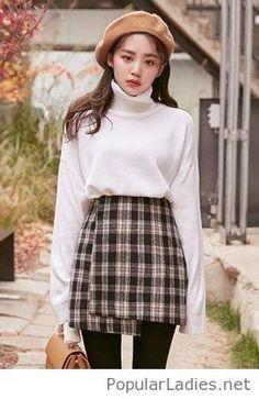 Plaid skirt, white sweater