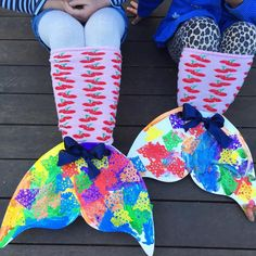 Cardboard Mermaid Tails with Painted Doily scales | www.acraftyliving.com