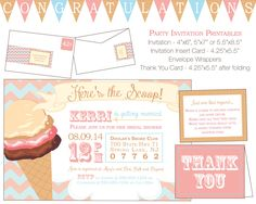 Ice Cream Wedding Shower Invitation Package - DIY Printable Invitation, Recipe Card, Cupcake Toppers and More by thetypetree on Etsy https://www.etsy.com/listing/225232287/ice-cream-wedding-shower-invitation