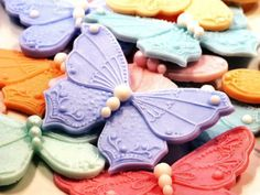 Butterfly Valentine Soap - Custom Colors and Fragrances Cake Decorating Tools, Cookie Decorating, Decorating Ideas, Craft Ideas, Butterfly Cookies, Cake Borders, Polymer Clay Cake, Decorative Soaps, Cute Cookies