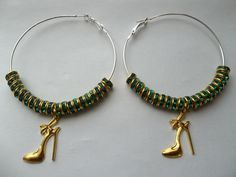 Shoe lovers big silver hoops earrings women elegant couture green crystal ribbon high stilettos heel pumps dangle Basketball Wives jewelry by JoesArt on Etsy