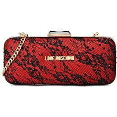 Love Moschino Clutch ($155) ❤ liked on Polyvore featuring bags, handbags, clutches, red, metallic purse, lace purse, strap purse, love moschino and love moschino handbags
