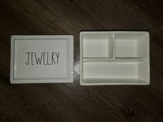 """Rae Dunn LL """"JEWELRY"""", 3 Compartment Box/Organizer w Lid (6.5""""x5""""x3"""") NEW #RaeDunn Cut Clothes, Natural Eyelashes, Magnetic Eyelashes, New Outfits, Eyeliner, Shop My, Box, Closet, Jewelry"""