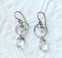 OOAK .925 Sterling Silver 14K Gold Filled Crystal Quartz Dangle Pierced Earrings #Handmade #DropDangle