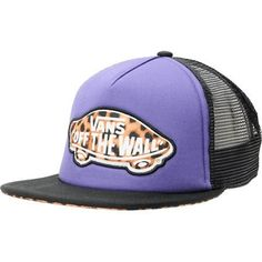 05723e7819645 Run wild and in style in the Leopard Print and Purple trucker hat from Vans.  With a black flat bill