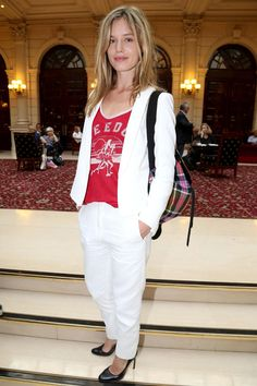 White suit + red tee.