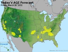 This links to AIRNow's air quality forecast. It includes information about ozone and air particle pollution. The map is updated daily.  There are also links on the site to individual state air quality maps. AIRNOW is a project of a variety of national, state, and local government agencies; including the EPA and NOAA.