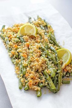 Green beans baked with delicious Parmesan-pecan-garlic bread crumbs ...