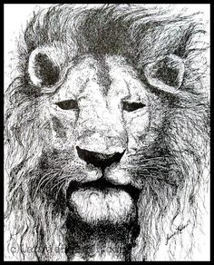 Illustration Pen and Ink Lion with Mane Detailed Drawing Reproduction Print. $12.00, via Etsy.