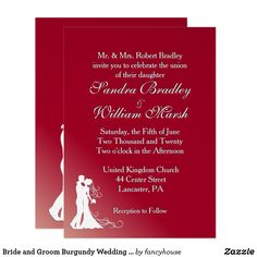 Bride and Groom Burgundy Wedding Invitation