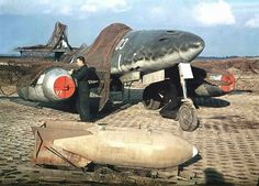 German World War 2 Colour Messerschmidt Me 262 With Camouflage On Airfield