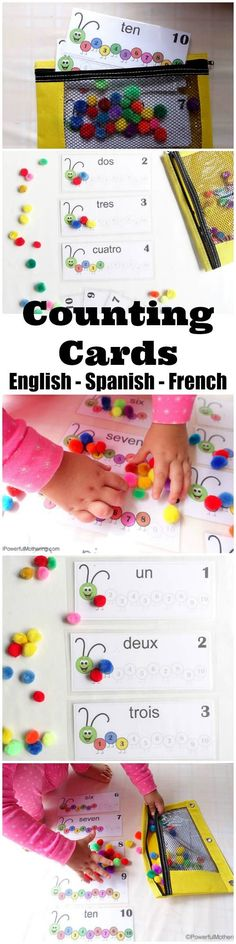 Printable numbers 1-10 is a toddler fine motor skills busy bag with number recognition, word reinforcement and color matching. English, Spanish & French.