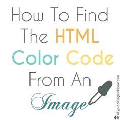 A Typical English Home: How To Find The HTML Colour Of An Image