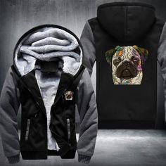 Pug Fleece Jacket Pugs, Fleece Jackets, Leather Jacket, Fashion, Wool Coats, Studded Leather Jacket, Moda, Wool Jackets, Leather Jackets