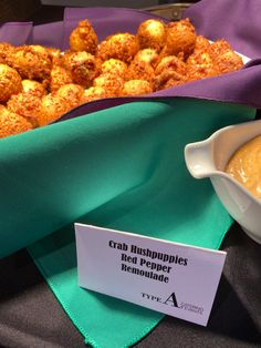 Crab hushpuppies from Type A Catering for a Mardi Gras themed party in Lexington, KY. Food Themes, Party Themes, Catering Companies, Hush Puppies, Wedding Catering, Mardi Gras, Our Wedding, Stuffed Peppers, Type