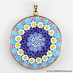 Millefiori pendant in gold-plated frame 36mm