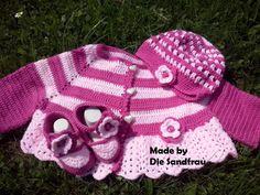 Baby Set  Jacke,Mütze u. Schuhe  für Mädchen von Die Sandfrau auf DaWanda.com