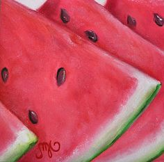 Watermelon Slices 4x4 Original Oil Painting by CJ MacKay - Sold