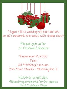 christmas shower invitations | Shop our Store > Red and Green Christmas Ornaments Bridal Shower ...