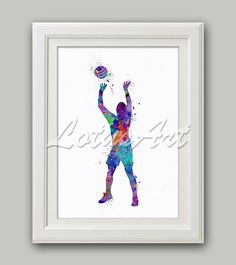 Volleyball Setter Watercolor Art Print Volleyball Wall Art Sports Poster Home Decor Kids Room Decor #sportsprint #volleyball #setter #sportsart #nurseryart