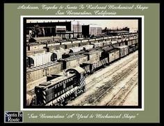 "8x10 Black/White Print of the Santa Fe ""A"" Yard & Santa Fe Mechanical Shops San Bernardino, California by antiquerails1 on Etsy"