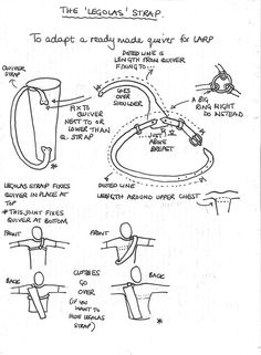 """Design for """"Legolas Strap"""" on a quiver. looks to me like this would make the quiver stay more securely in the same place on your shoulder. I think this is also called a three-point harness. Archery Quiver, Archery Gear, Archery Equipment, Leather Diy Crafts, Leather Projects, Leather Craft, Leather Quiver, Traditional Archery, Cosplay Tutorial"""