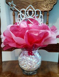 Princess baby shower centerpiece. Easy & inexpensive to make. Mommy-to-be loves them.