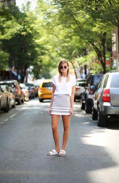 white tee + white skirt