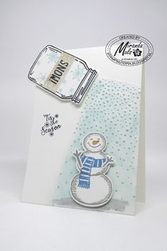 CARD: Sprinkle on some Snow, Stampin Up, snow place, jar of love Homemade Christmas Cards, Christmas Cards To Make, Xmas Cards, Homemade Cards, Holiday Cards, Christmas Ideas, Mason Jar Cards, Winter Karten, Scrapbooking Photo