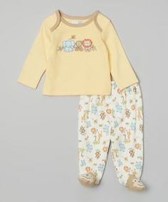 Take+a+look+at+the+Vitamins+Baby+Yellow+Jungle+Friends+Lap-Neck+Tee+&+Footie+Pants+-+Infant+on+#zulily+today!