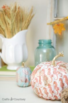 Mod Podge Sea Horse Pumpkin: Fall Home Tour: Coastal Style!! Crafts by Courtney