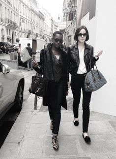 Michelle Dockery and Lupita in Paris.