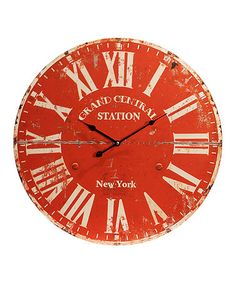 Grand Central Station New YOrk style Red Wood 23'' Clock #zulilyfinds
