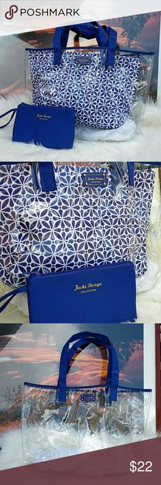 """3 Piece Clear Bag 3 piece blue/white /clear bags✨✨ versatile for your everyday use. Fabric feels like nylon. Large clear 18""""w x 11""""h Medium blue 16.5""""w x 9""""h Wristlet 8""""w x 5""""h. Jacki Design Bags Totes"""