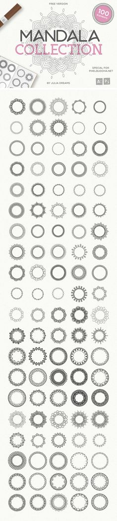 100 Vector Mandala Illustrations - download freebie by PixelBuddha