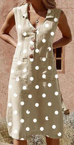 Plus Size Elegant Buttoned Down Polka Dot Pockets Dress Casual Dresses, Fashion Dresses, Burgundy Dress, Summer Dresses For Women, Dot Dress, Corsage, Swing Dress, Cotton Dresses, Clothes For Women