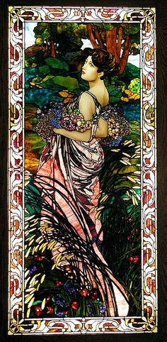 Art Nouveau Style Seasons: Summer II Stained Glass by Jim M. Berberich, Bogenrief Studios, inspired by Alphonse Mucha Art Nouveau Mucha, Alphonse Mucha Art, Art Nouveau Poster, Stained Glass Art, Stained Glass Windows, L'art Du Vitrail, Design Art Nouveau, Jugendstil Design, Illustrator