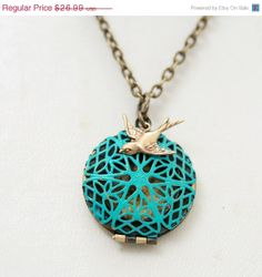 ON SALE Blue Filigree Locket,Fashion Pendant Necklace,Brass locket ,Bridesmaid Necklace,Wedding Necklace