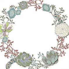 Succulent Wreath Clip Art Succulent Floral Border por FishScraps