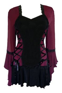 Dare to Wear Victorian Gothic Boho Women's Plus Size Bolero Corset Top Plum - Apparel - Frequently updated comprehensive online shopping catalogs Got Merchandise, Bolero Top, Bolero Jacket, Corset Style Tops, Gothic Mode, Mode Plus, Lace Corset, Corset Shirt, Gothic Corset