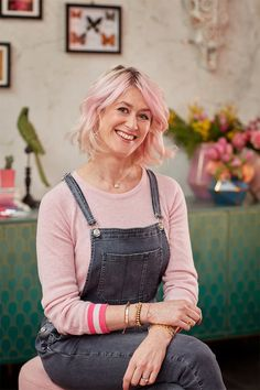 Pink-haired Emily from The Pink House in a pink Cove Cashmere sweater and grey 7 For All Mankind dungarees Sophie Robinson, Pink Houses, Blog Design, Cashmere Sweaters, Get The Look, Summer Collection, Vibrant, Author, Colour