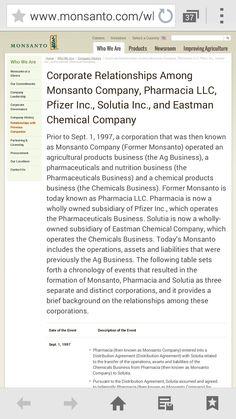 Monsanto & Pharmacia relationship