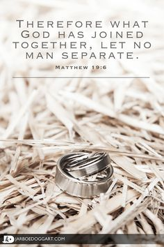 "Beautiful picture of the bride and groom's wedding rings with a quote from the Bible verse Matthew 19:6, ""Therefore what God has joined together, let no man separate."""
