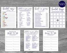 Nautical Bridal Shower Games Pack Bundle.  Have fun at your Bridal Shower or Wedding Shower playing Whats In Your Purse, Bridal Bingo, Whats On Your Phone, Emoji Pictionary Game, How old was the bride and groom in each picture, and Bride or Groom. Each card contains classic navy blue font, elegant calligraphy, and a chic, modern design. #nauticalparty #nauticalbridalshower #beachbridalshower #bridalshowergames #bridalshower #nauticalbabyshower #babyshowergames Navy Bridal Shower, Nautical Bridal Showers, Nautical Party, Nautical Wedding, Bridal Shower Games, Bridal Bingo, Purse Game, Sprinkle Party, Whats In Your Purse